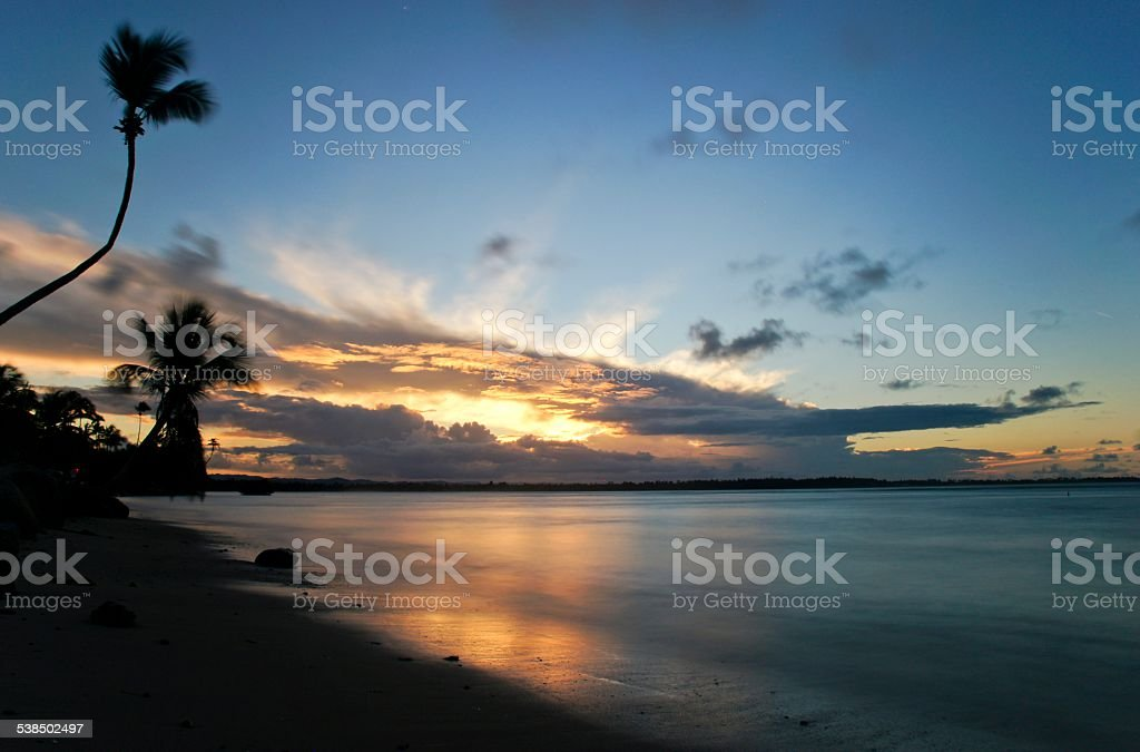 Puerto Rican Beach at Sunset in the Caribbean Sea stock photo