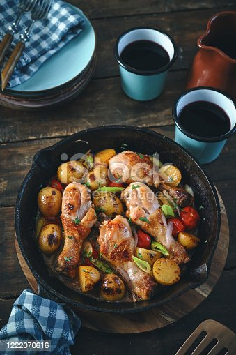 Puerto Rican Chicken Drumsticks in Sherry with Potatoes and Scallion