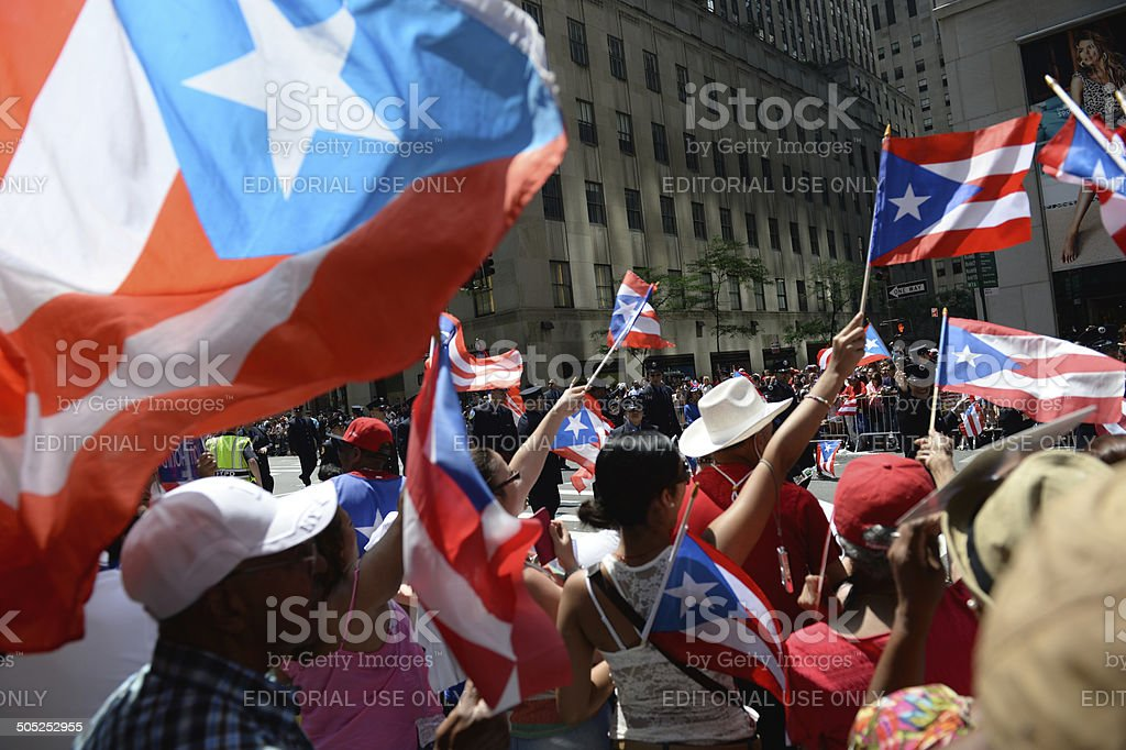 Puerto Rican Day Parade Supporters New York City stock photo