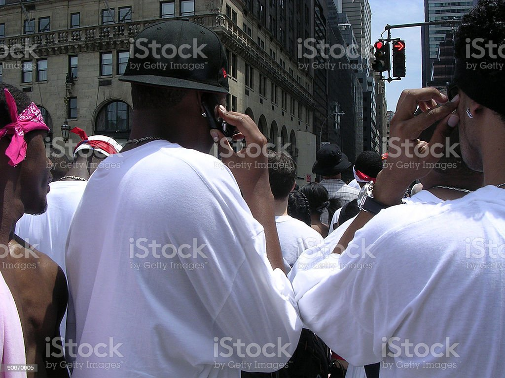 Puerto Rican Parade-Guys in White Shirts royalty-free stock photo