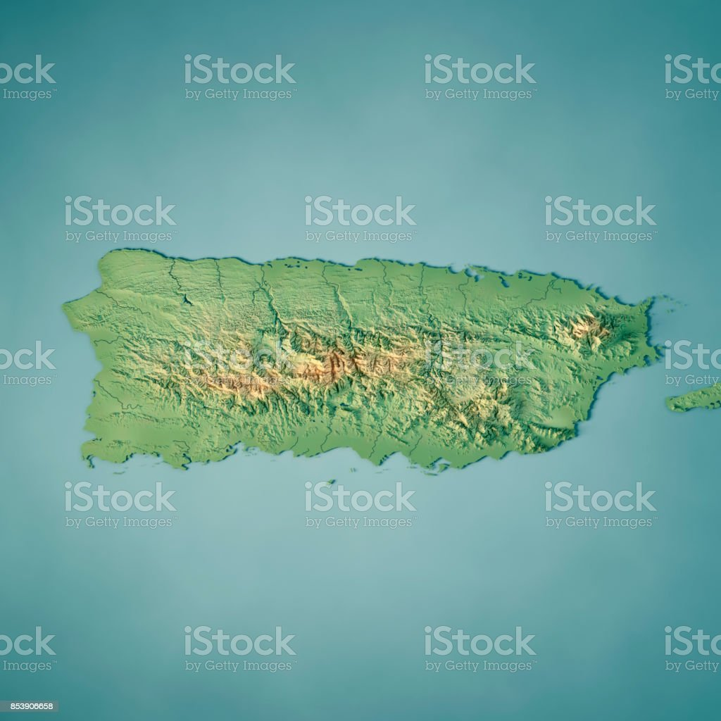Puerto Rico 3d Render Topographic Map Stock Photo More Pictures of
