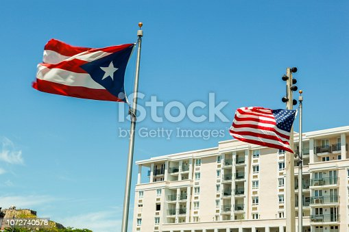 Puerto Rico Flag and American Flag in the wind.