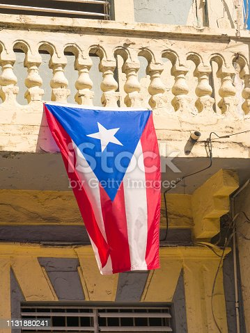 Puerto Rico flag on a old building