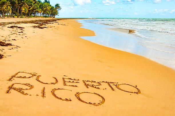 Puerto Rico written on one of its beautiful beaches stock photo