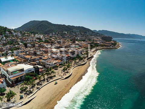 Aerial view on the malecon of Puerto Vallarta in Jalisco Mexico