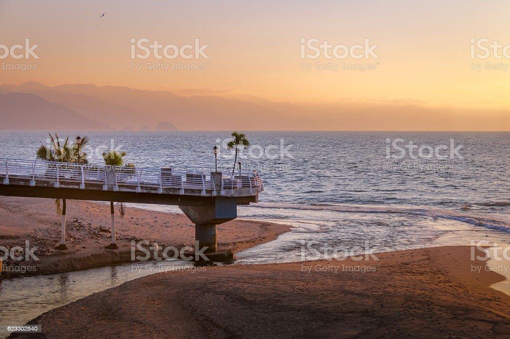 Puerto Vallarta Promenade sunset - Puerto Vallarta, Jalisco, Mexico stock photo