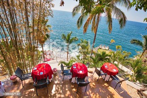 Puerto Vallarta, romantic upscale restaurant overlooking scenic ocean landscapes near Bay of Banderas