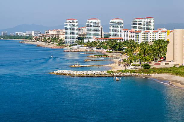Puerto Vallarta skline and waterfront stock photo