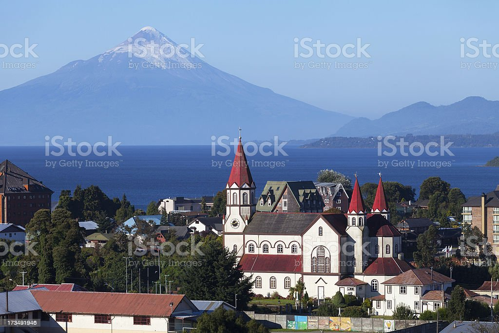 Puerto Varas city and volcano Osorno, Patagonia, Chile stock photo