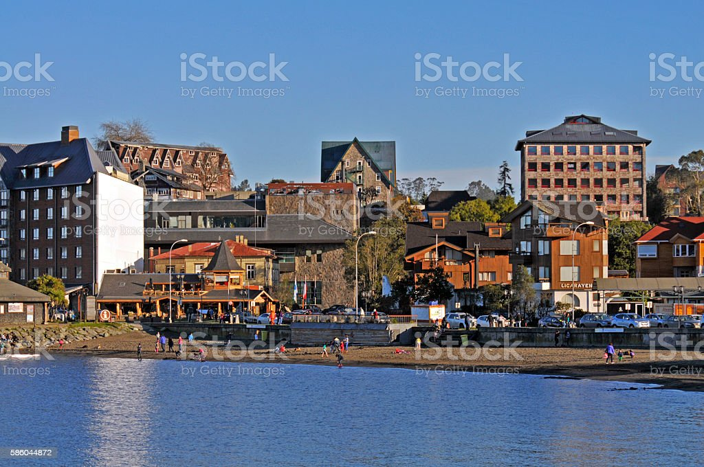 Puerto Varas, waterfront of the city, from the lake Llanquihue stock photo
