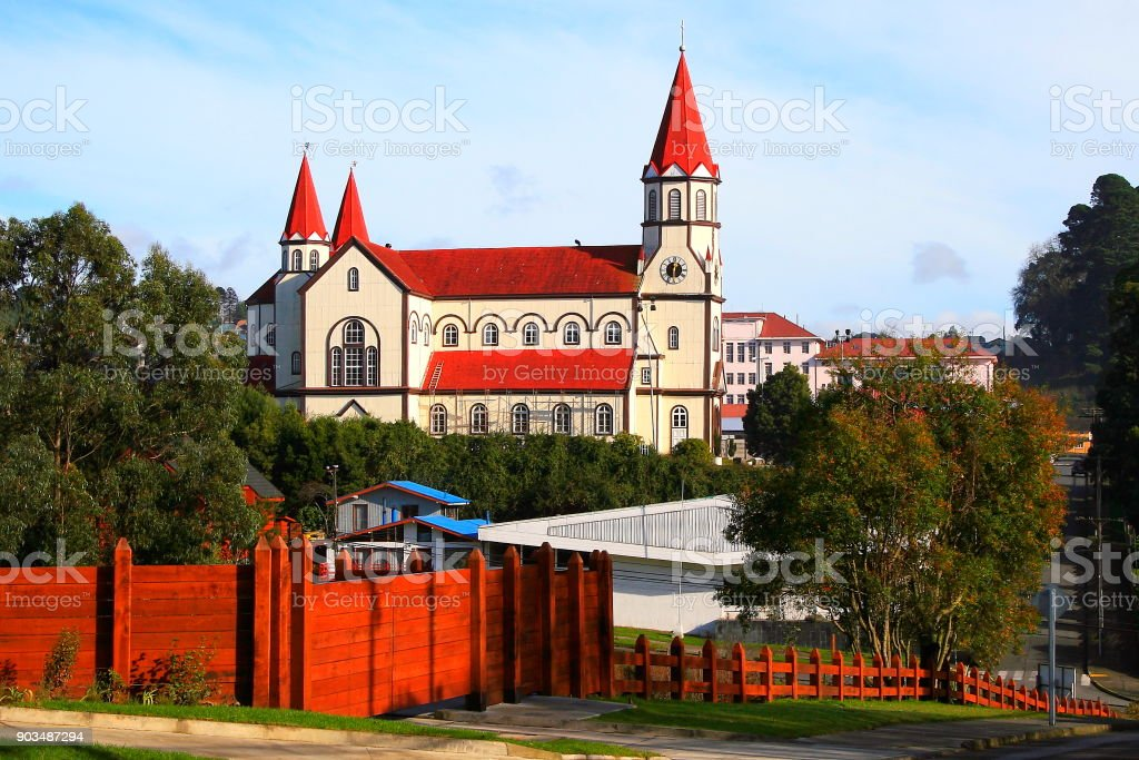 Puerto Varas wooden church cityscape at sunrise, Southern Chile, South America stock photo