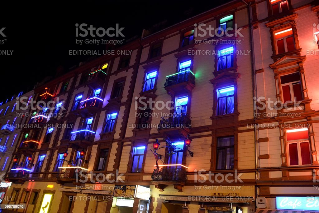Puff in Elbestrasse, Frankfurt red light district at night, Germany stock photo