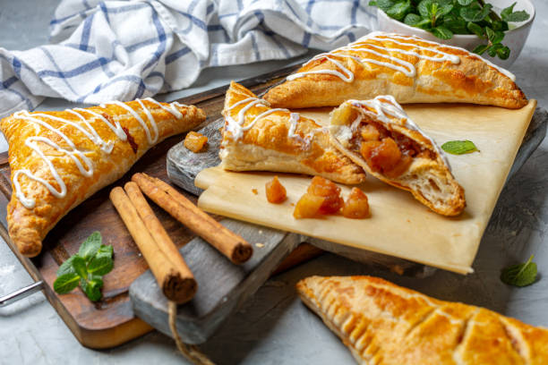 Puff pastry apple pastry turnovers for dessert. stock photo