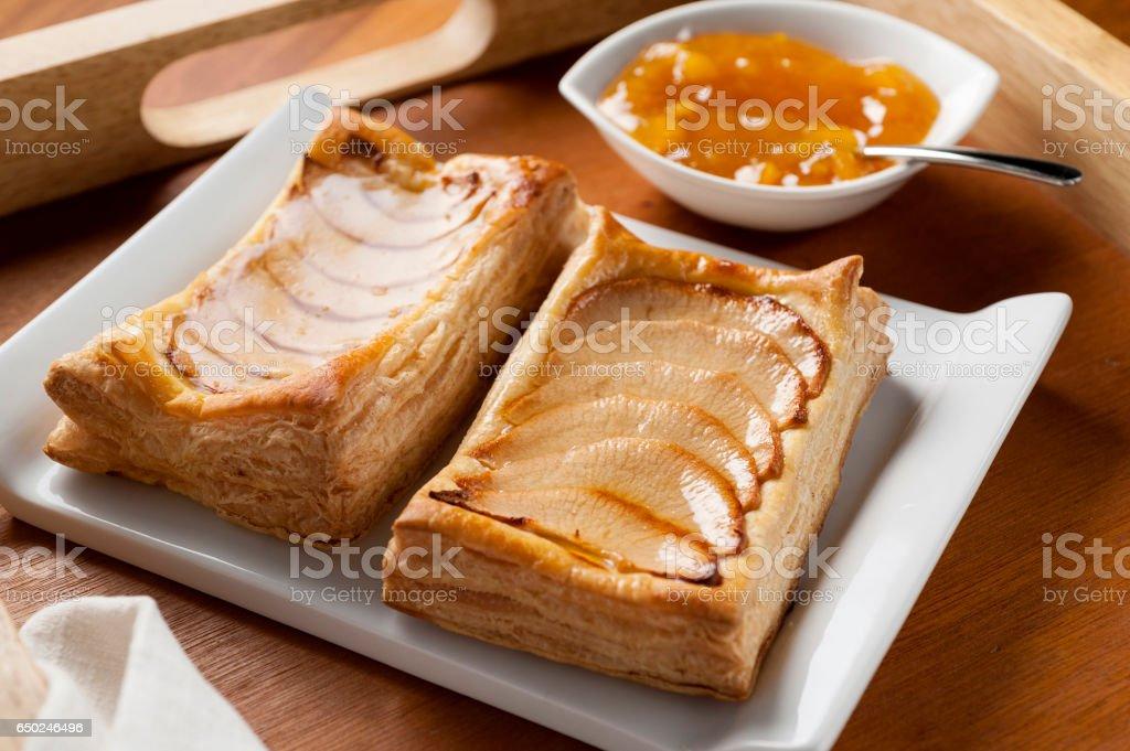 Puff pastry apple tart stock photo