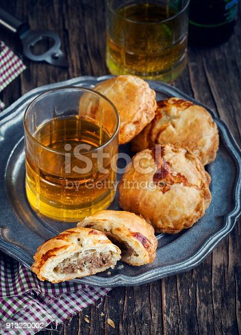 istock Puff pastry pies with mince meat. 913220002