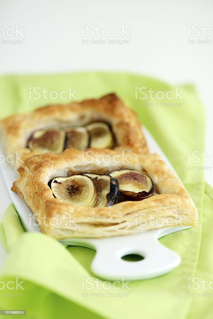 Puff pastry tarts with figs stock photo