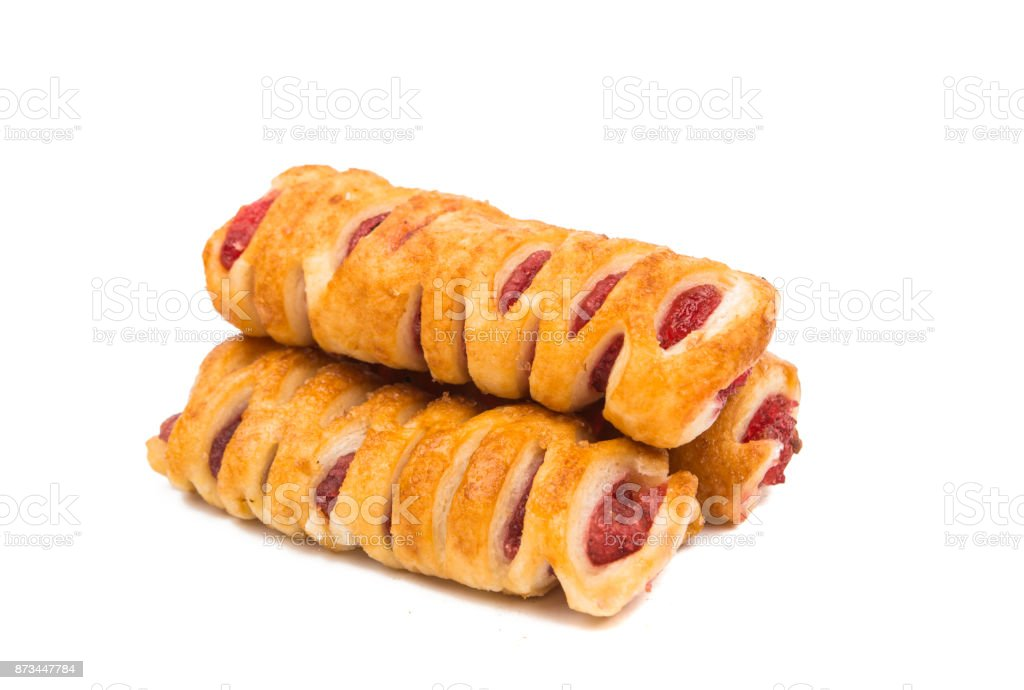 puff pastry with jam isolated stock photo