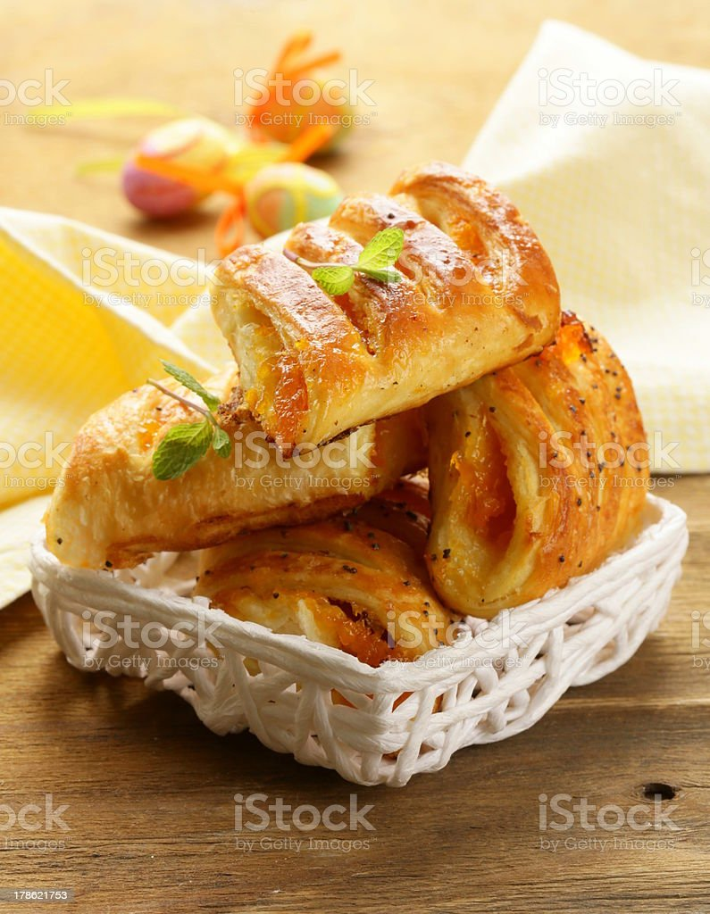 puff pastry with jam - sweet breakfast royalty-free stock photo