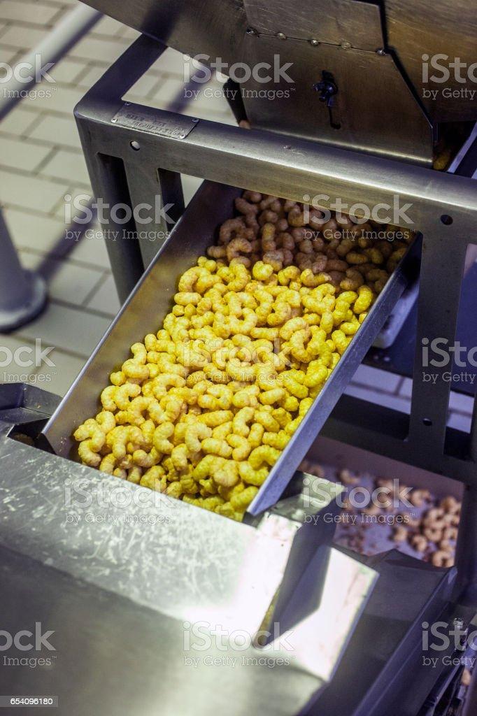 Puffed spiced corn stock photo