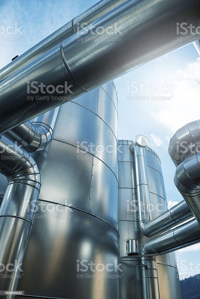 A pufferspeicher blockheizkraftwerk of a biogas in Germany stock photo