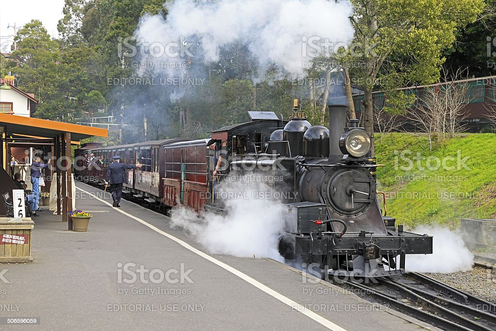 Puffing Billy steam train departing Belgrave Station stock photo