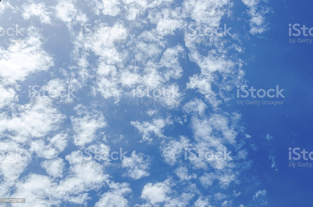 Puffy clouds and blue sky in sunny day royalty-free stock photo