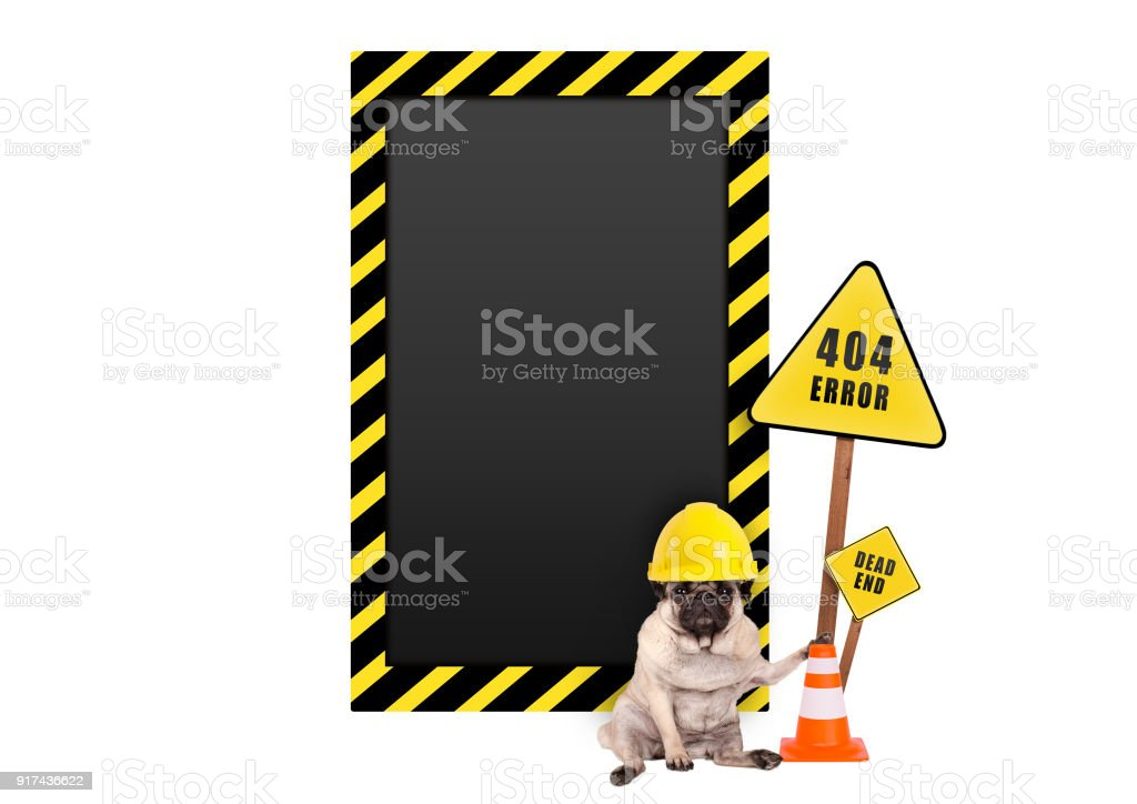 pug dog with yellow constructor safety helmet and 404 error and blank warning sign stock photo