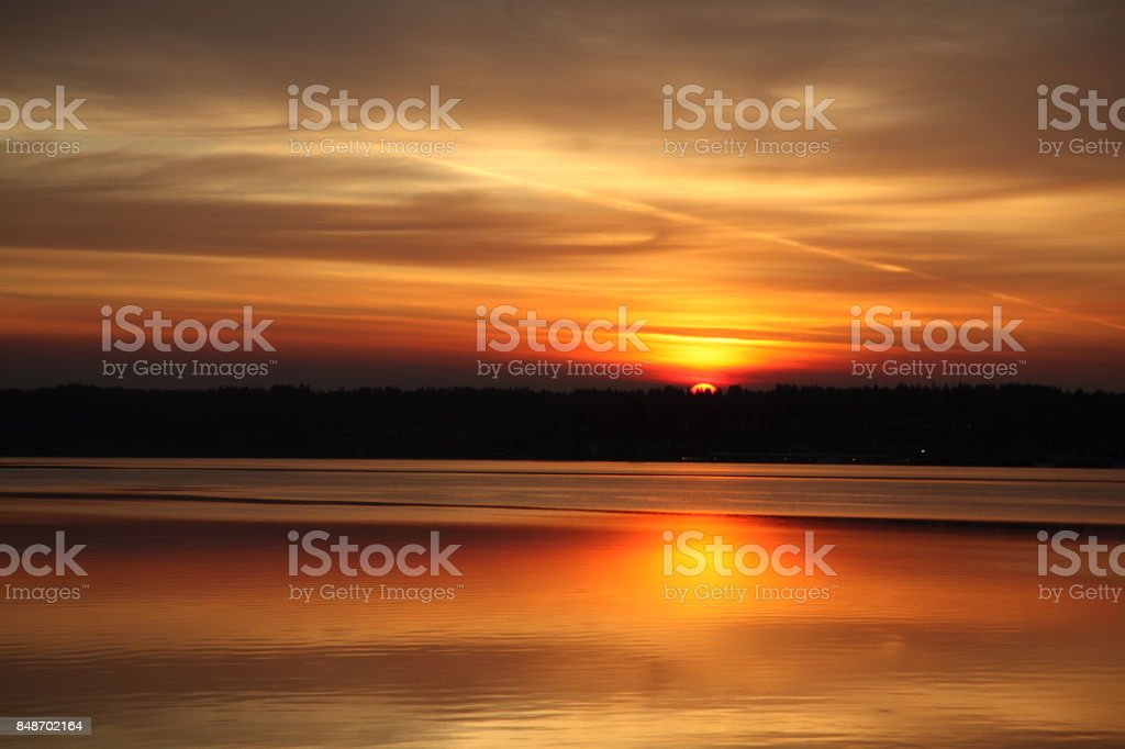 Puget Sound Sunrise stock photo