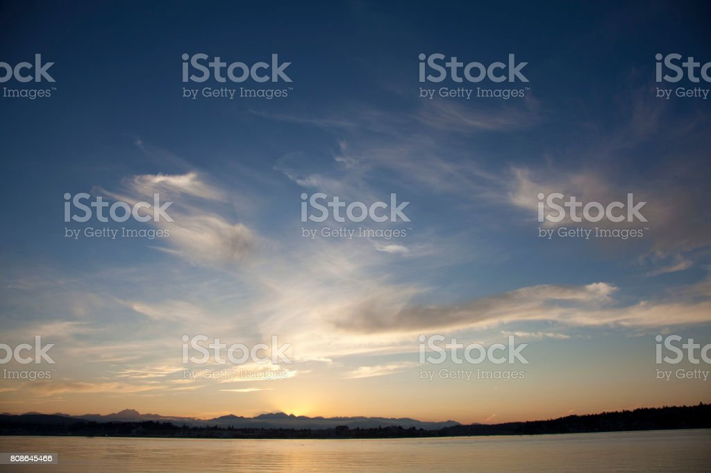 Puget Sound Sunset stock photo