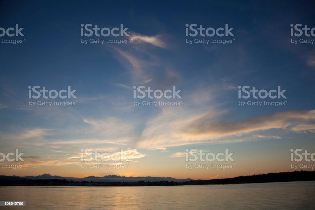 Puget Sound Sunset stock photo