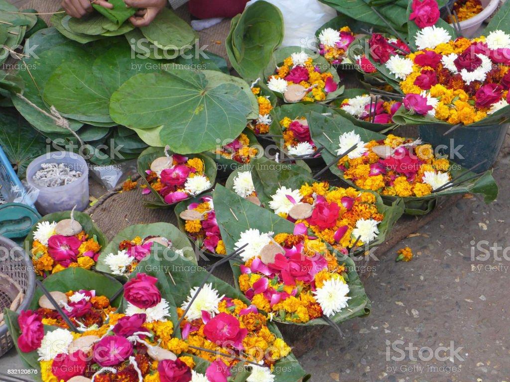 Puja flowers Rishikesh stock photo