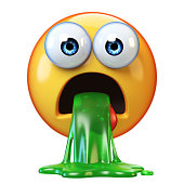 Puking emoji isolated on white background, disgusted or sick emoticon