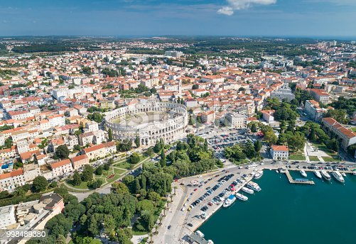 Aerial of the famous Pula Arena Amphitheatre, Croatia. Converted from RAW.