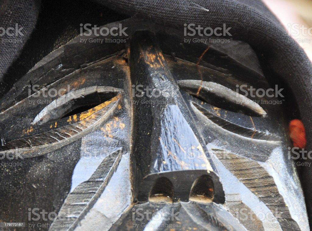 Pula, Cagliari province, Sardinia,Italy: Mamoiada mask stock photo
