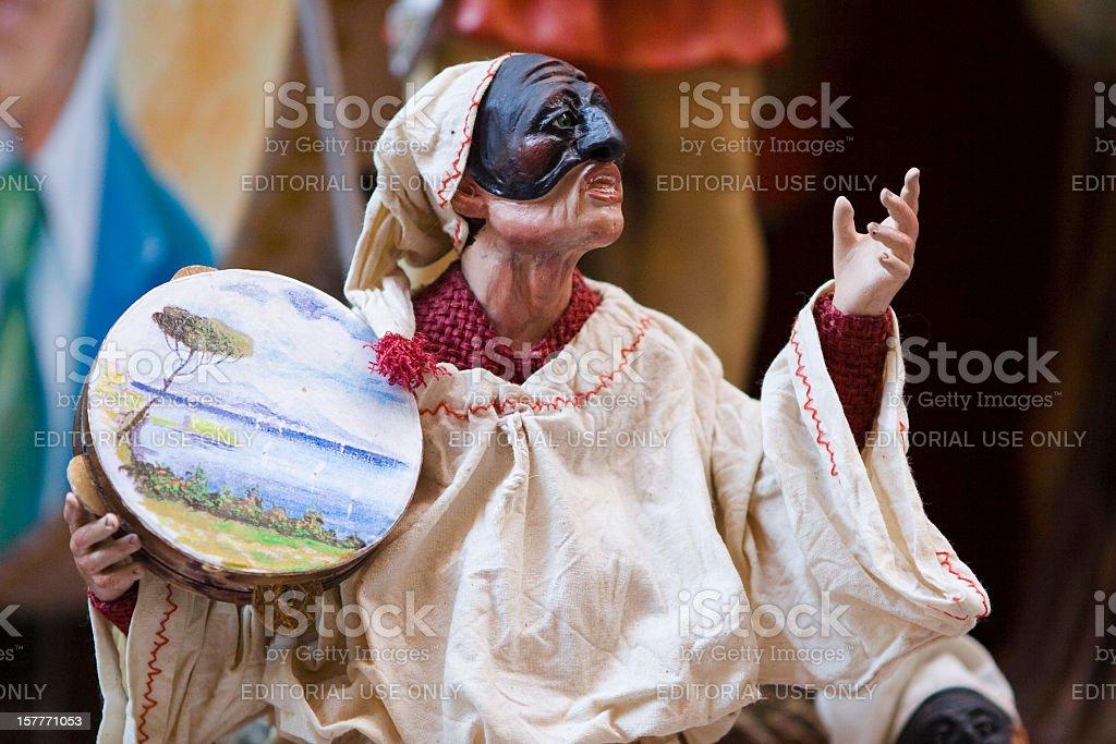 Pulcinella maschera Statuetta Cantare - foto stock
