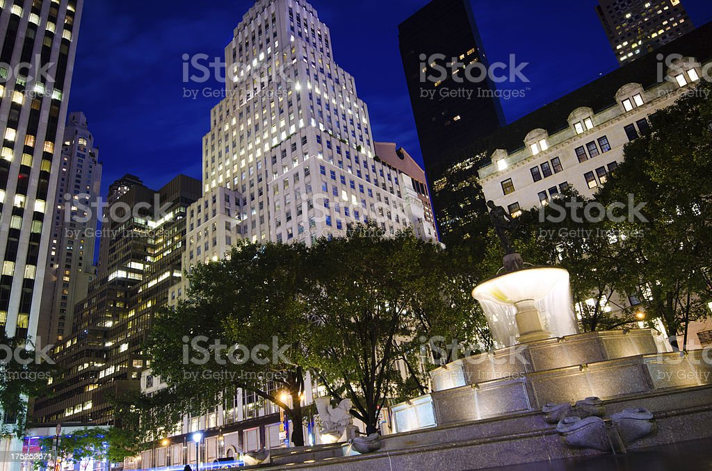 Pulitzer Fountain at Grand Army Plaza in New York City royalty-free stock photo