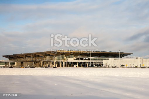 St. Petersburg, RUSSIA-February 24 ,2017:Pulkovo airport terminal building. Pulkovo is one of the largest airports in the world