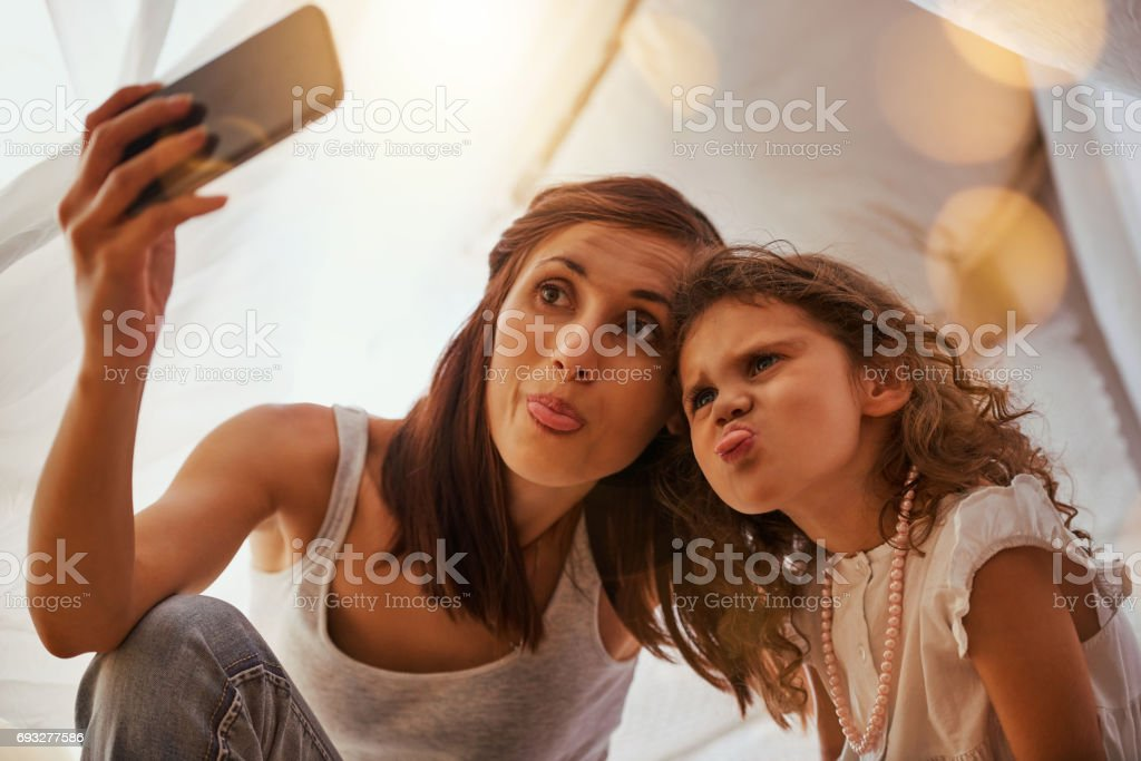 Pull a funny face stock photo