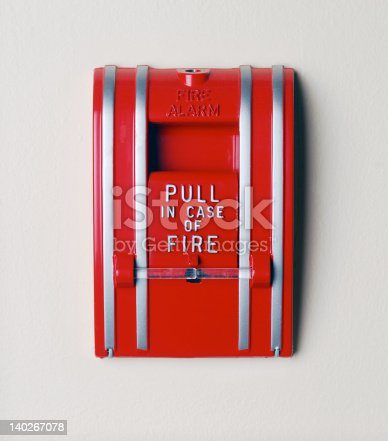 Wall mounted fire alarm.