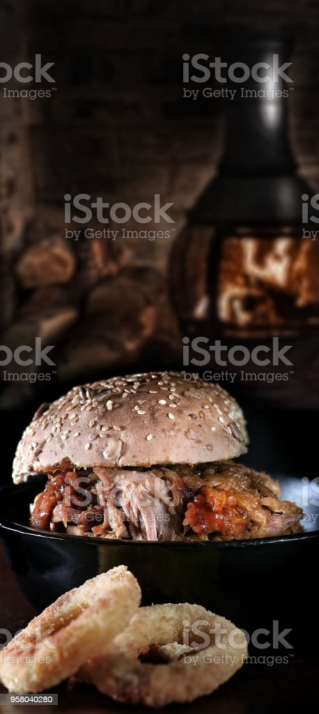 Pulled BBQ Pork Roll stock photo