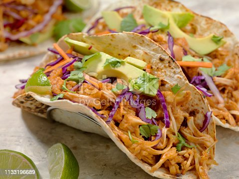 BBQ Pulled JACK FRUIT Taco with Avocado, Cabbage and Lime