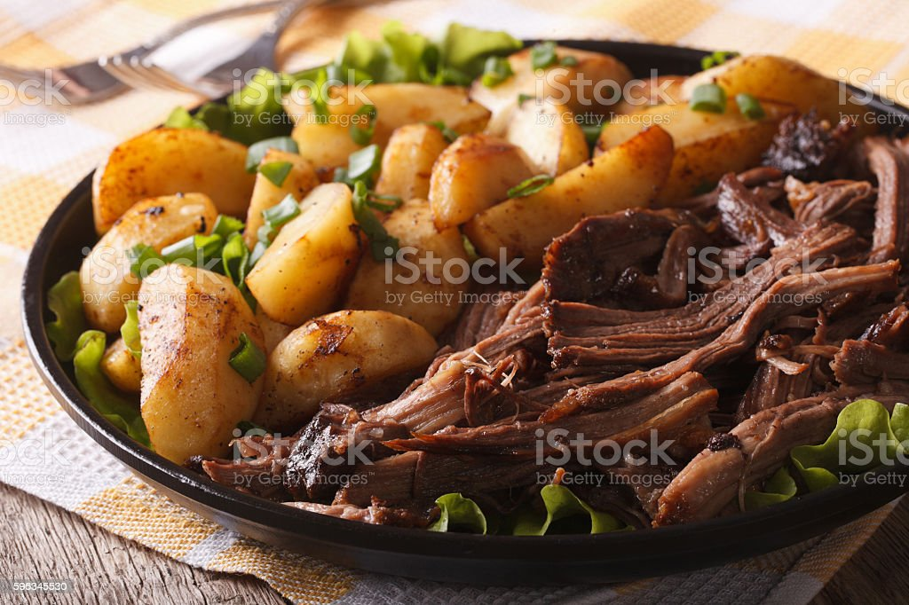 Pulled pork and fried potato close-up on a plate horizontal Lizenzfreies stock-foto