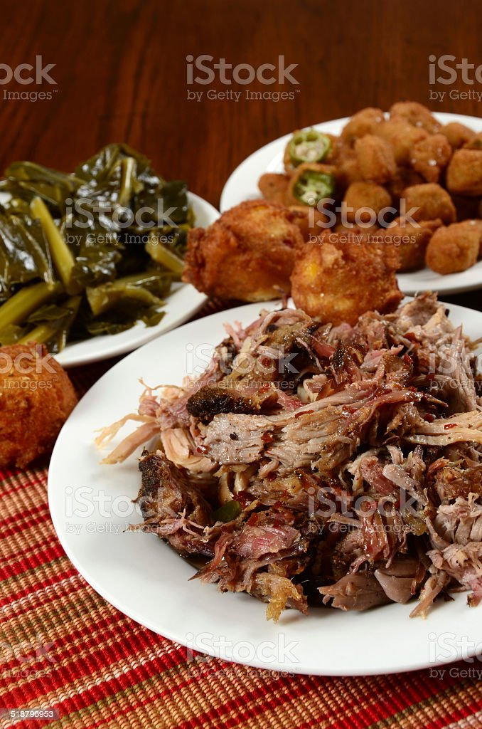Pulled Pork Barbecue Dinner stock photo