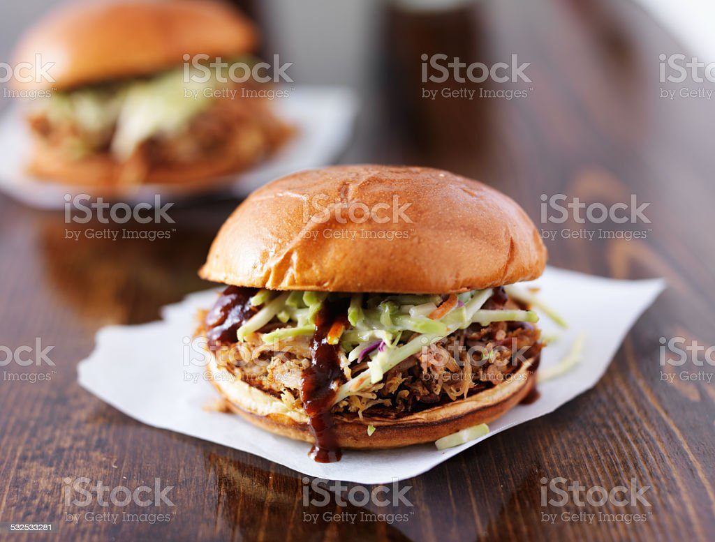 pulled pork barbecue sandwiches stock photo