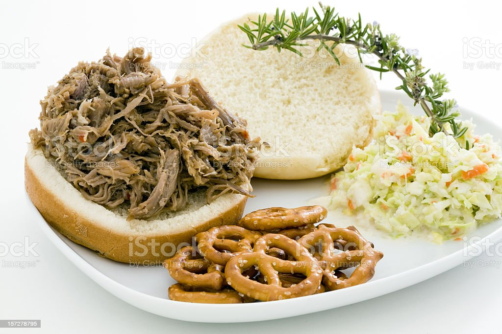 Pulled Pork BBQ Sandwich royalty-free stock photo
