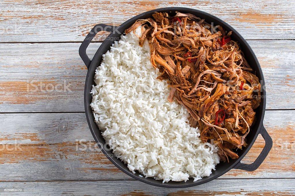 pulled pork grilled in oven with basmati rice - foto de acervo