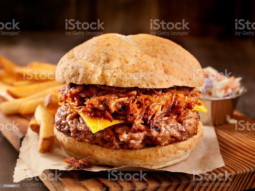 Pulled Pork Hamburger stock photo