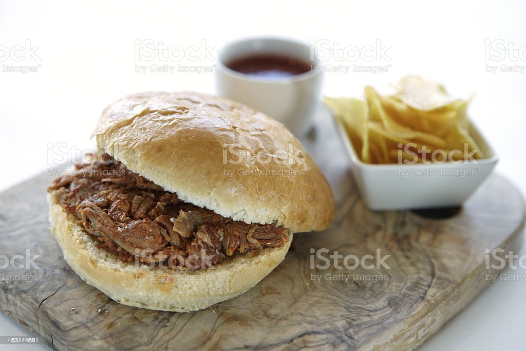BBQ pulled pork roll royalty-free stock photo