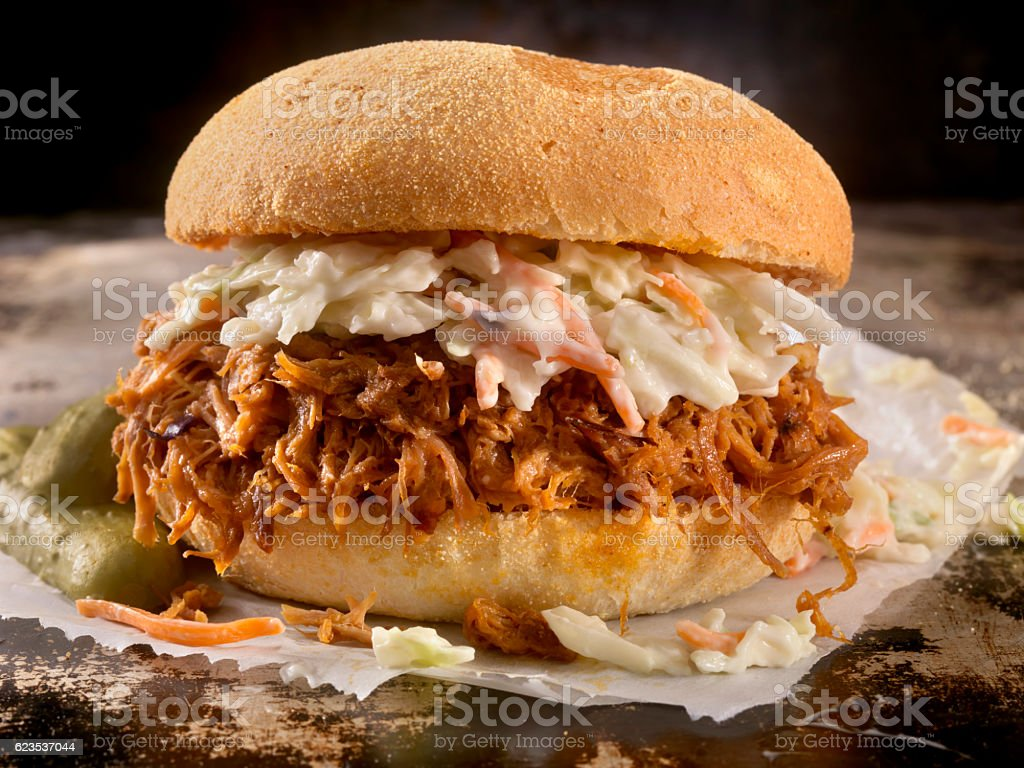 Pulled Pork Sandwich in a Savoury BBQ Sauce with Coleslaw stock photo
