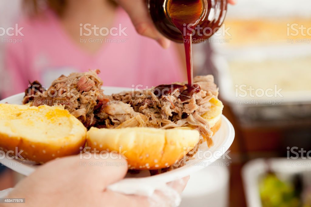BBQ Pulled Pork Sandwich stock photo